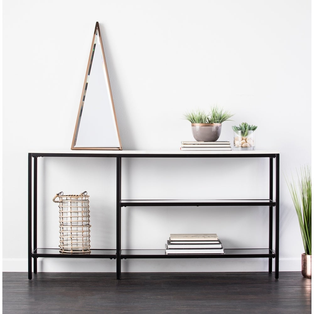 Corman Narrow Black and Grey Faux Marble Console Table - RoomsandDecor.com