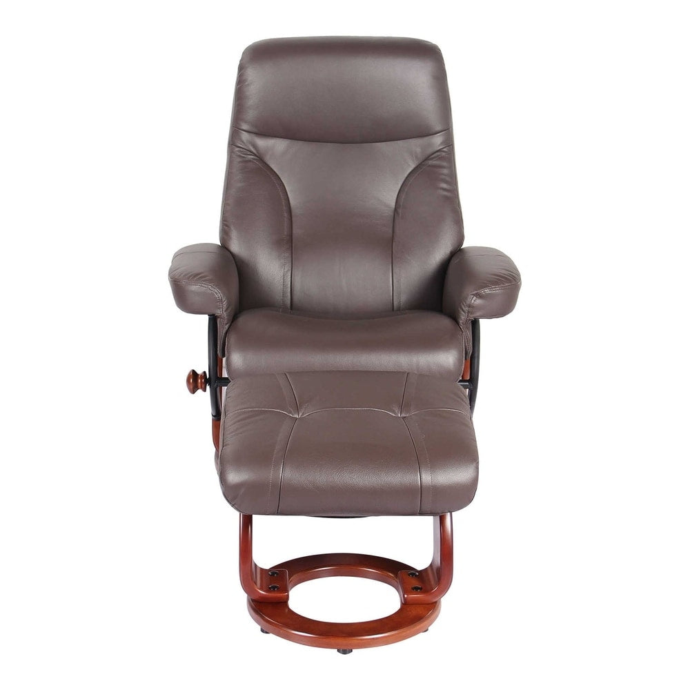 HomeRoots Furniture Kona Brown Swivel Recliner Chair and Ottoman - RoomsandDecor.com