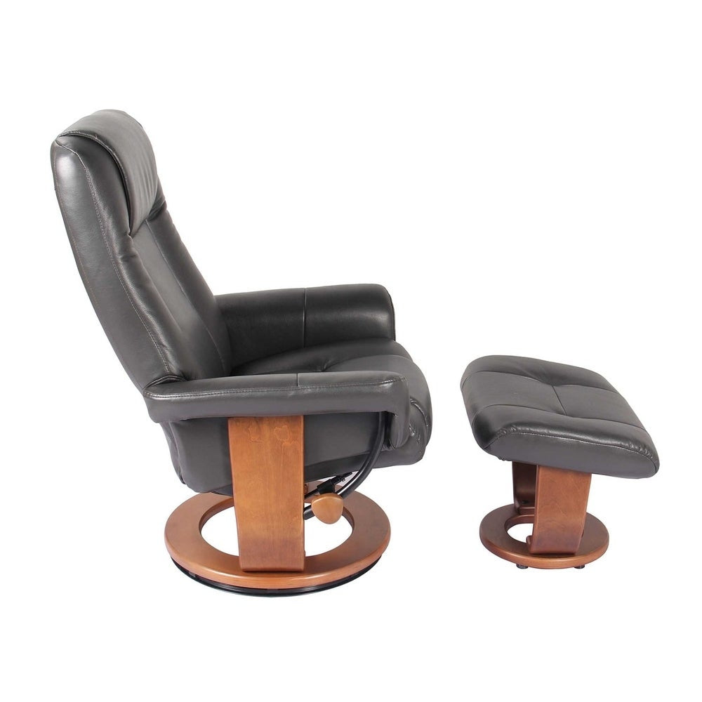 HomeRoots Furniture Swivel Recliner Chair and Ottoman - Charcoal - RoomsandDecor.com
