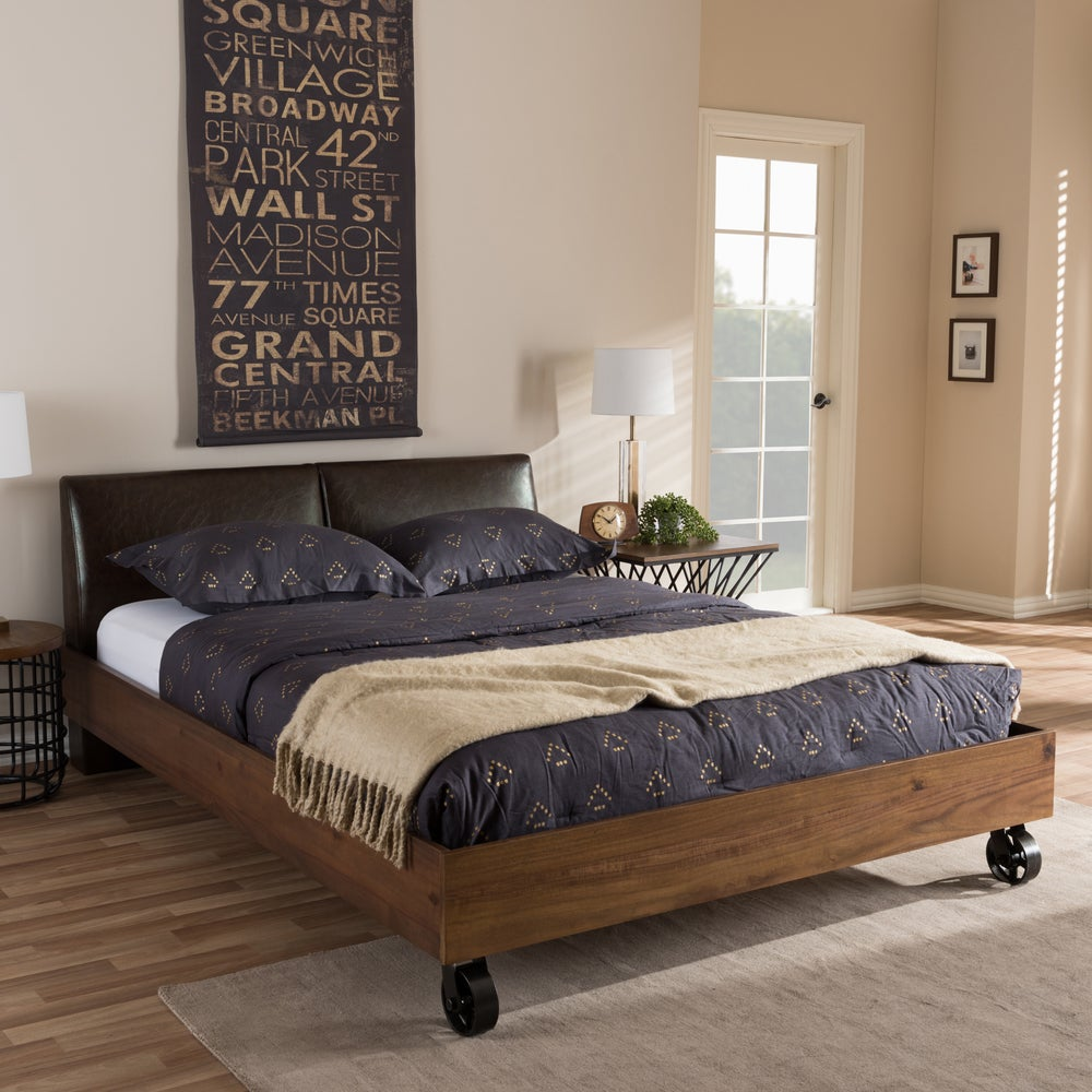 Industrial Dark Brown Faux Leather King Bed - RoomsandDecor.com