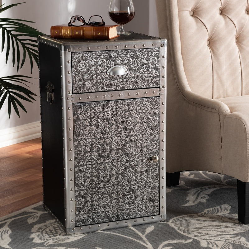 Industrial Silver Metal Floral End Table - RoomsandDecor.com