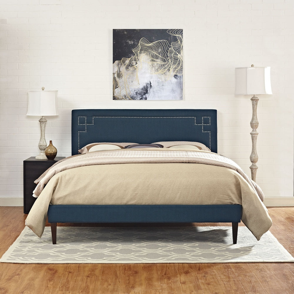 Josie Azure Fabric Platform King Bed with Squared Tapered Legs