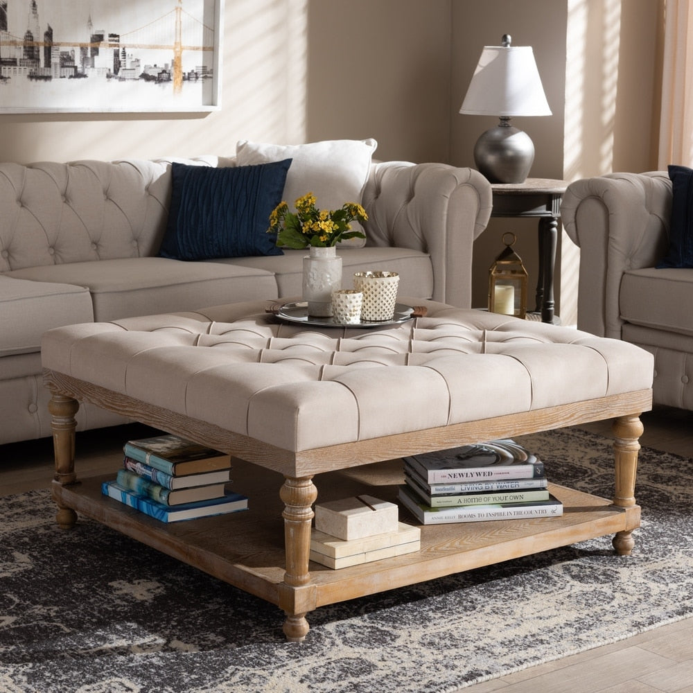Kelly Modern and Rustic Cocktail Ottoman - Beige
