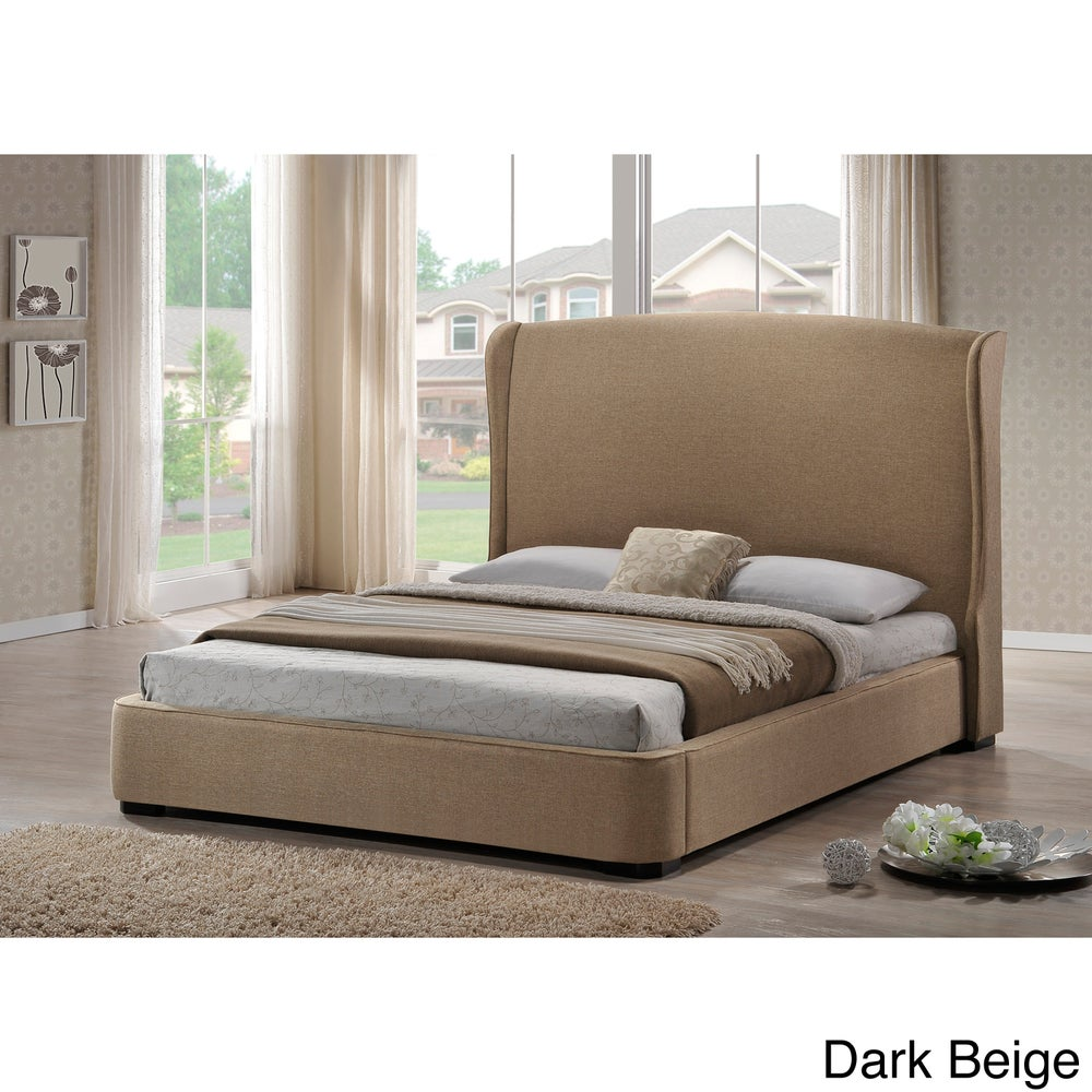 Sheila Linen King Size Bed with Upholstered Headboard King Bed - RoomsandDecor.com
