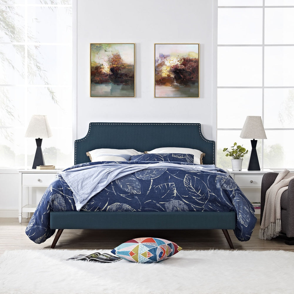 Laura Azure Fabric Platform Bed with Round Splayed Legs - King