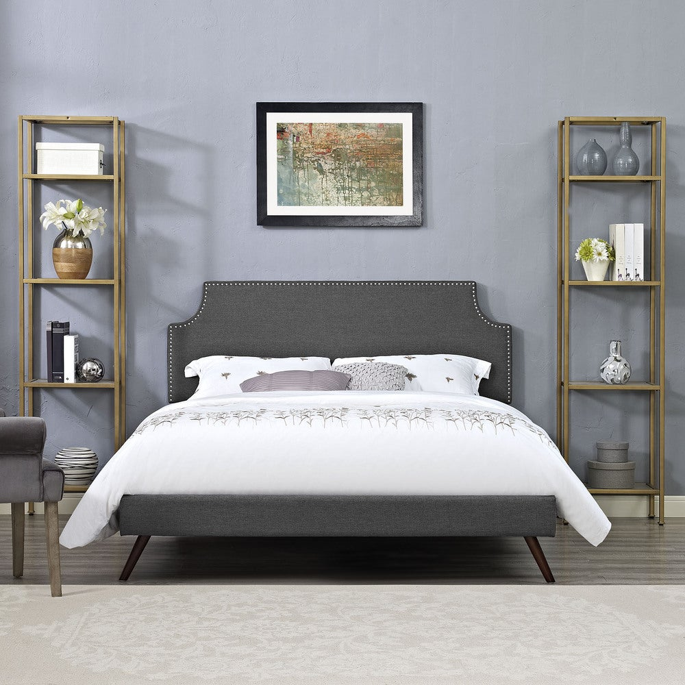 Laura Grey Fabric Platform Bed with Round Splayed Legs - Queen - Upholstered/Wood - Upholstered