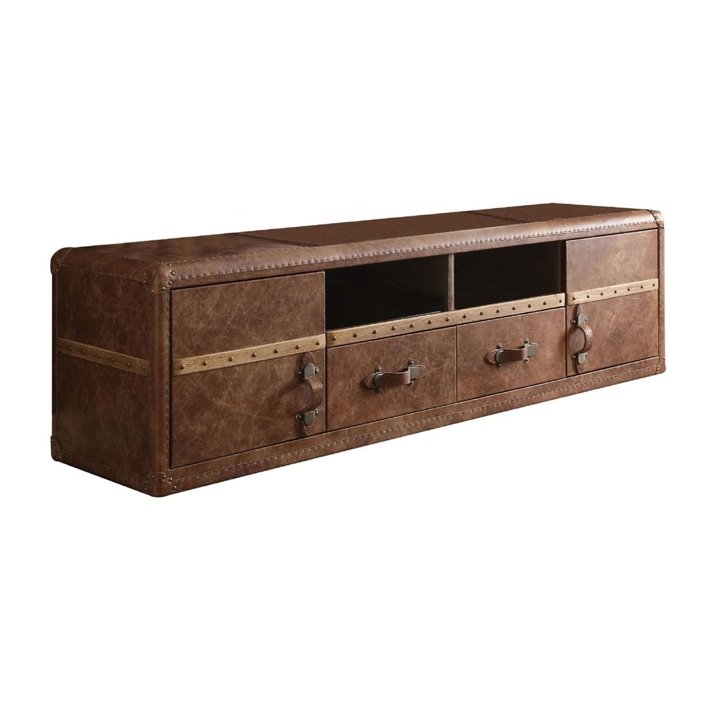 Leatherette 70 inches Upholstered Wooden TV Stand - RoomsandDecor.com