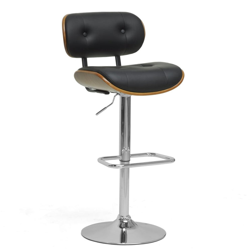 "Modern Brown and Black 24-32"" Adjustable Bar Stool - RoomsandDecor.com"