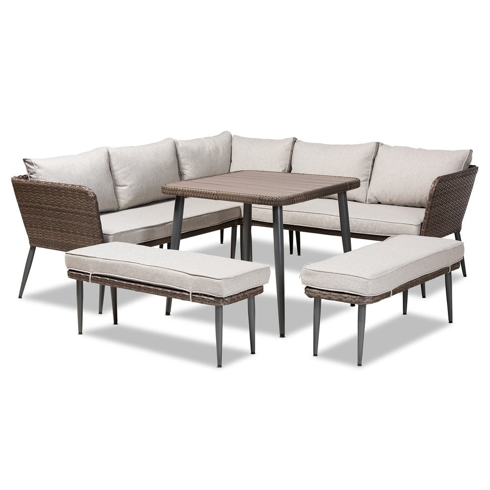 Lillian Modern and Contemporary 5-Piece Outdoor Sectional Set