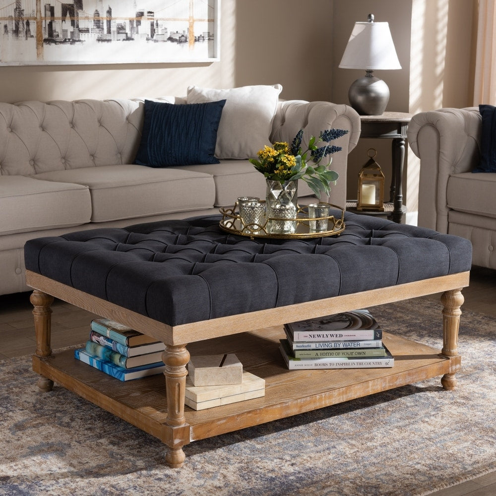 Lindsey Modern and Rustic Cocktail Ottoman - Charcoal