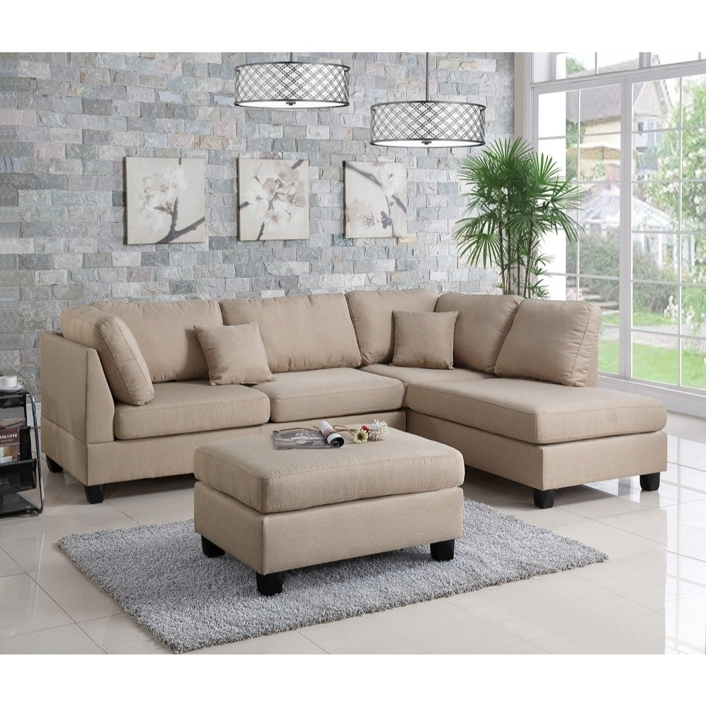Sandtown Linen Fabric 3 Pieces Sectional - RoomsandDecor.com
