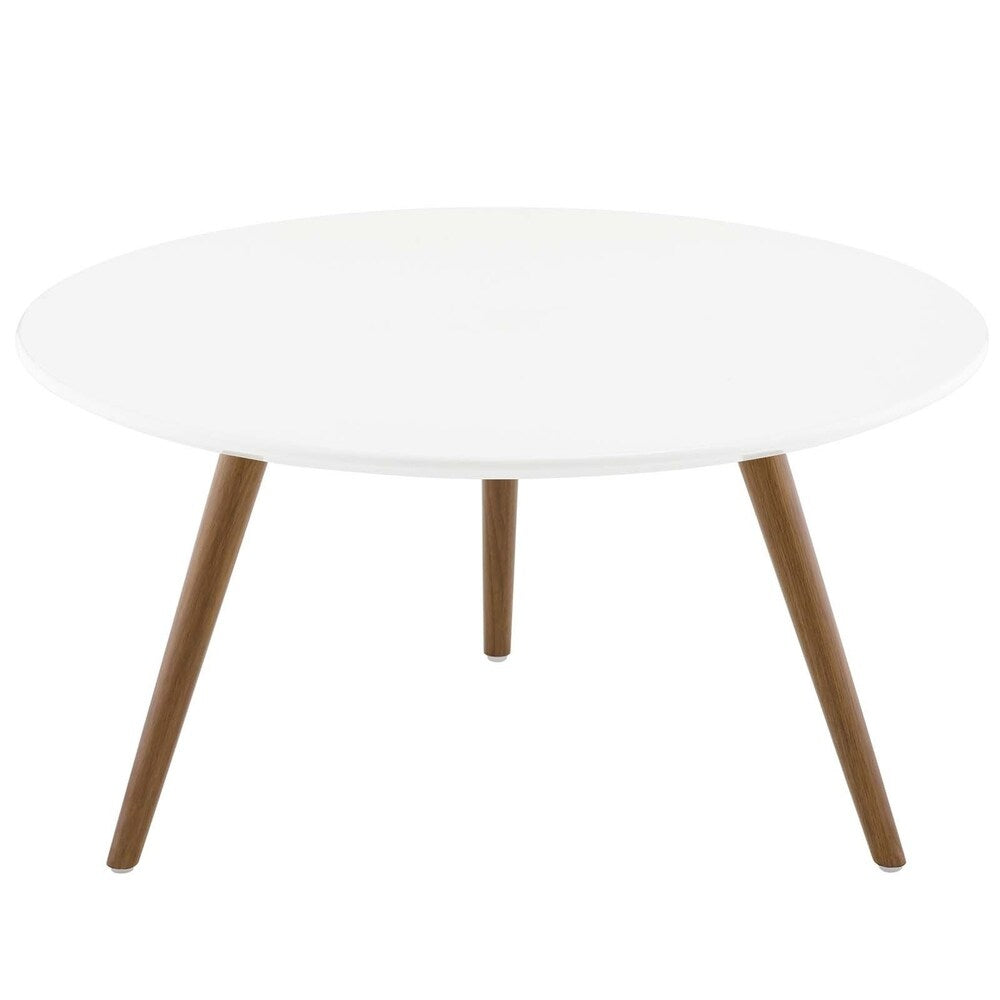 "Lippa 28"" Round Wood Top Coffee Table with Tripod Base - Walnut White"
