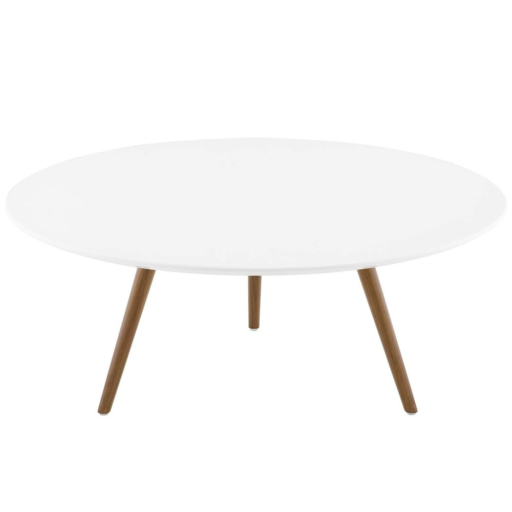 "Lippa 36"" Round Wood Top Coffee Table with Tripod Base - Walnut White"