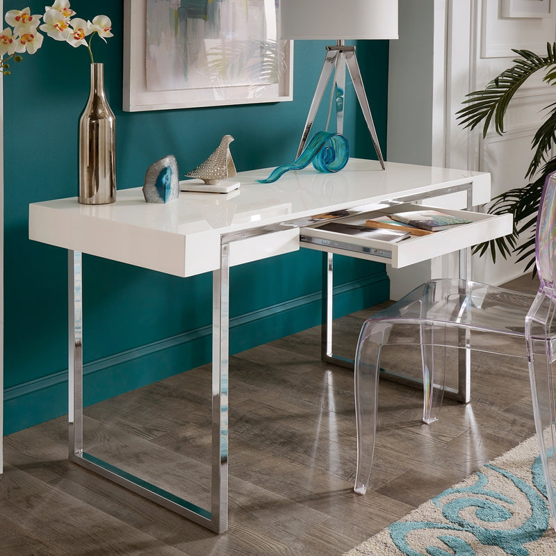 Stainless Steel Framed White Finish Desk - RoomsandDecor.com
