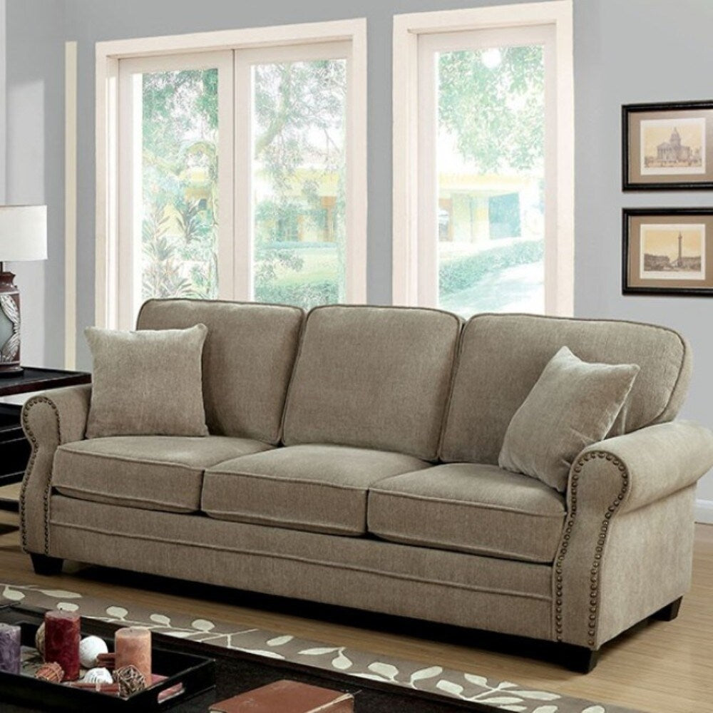 Chenille Fabric Upholstered Solid Wood Sofa with Nail head Trim Details, Beige - RoomsandDecor.com