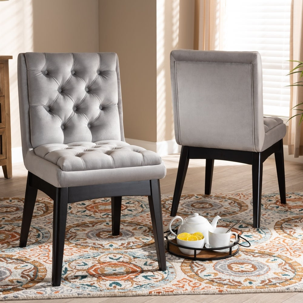 Makar Modern Transitional 2-Piece Dining Chair Set - Light Grey