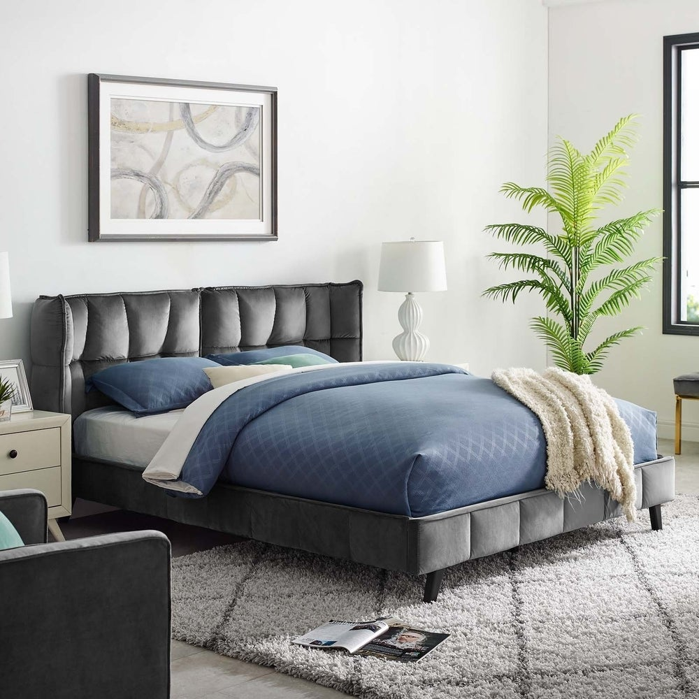 Makenna Queen Upholstered Velvet Platform Bed - Grey