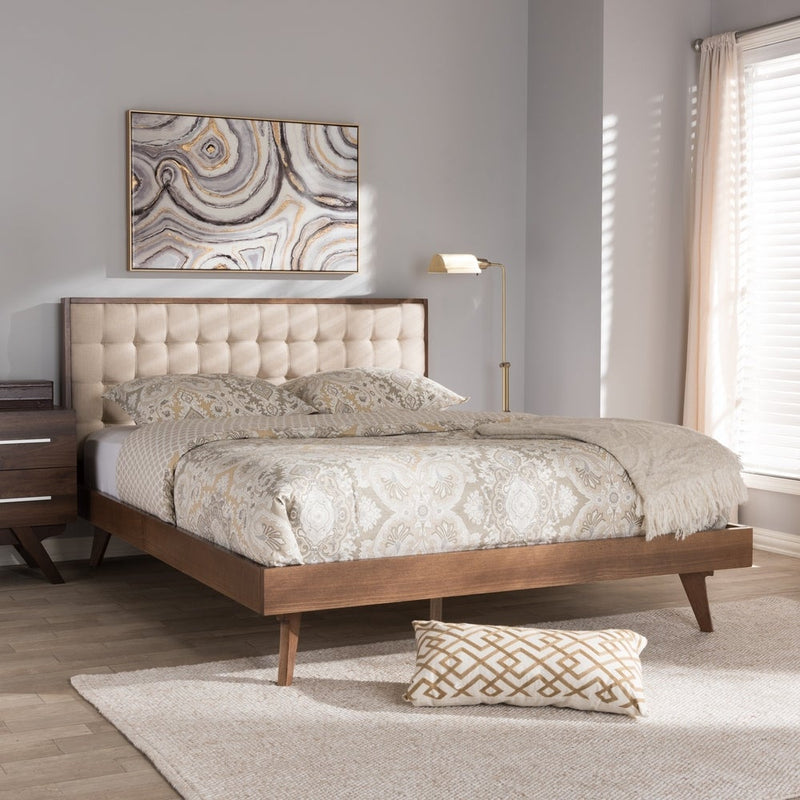 Mid-Century Beige Fabric Platform Bed by Baxton Studio - Queen - RoomsandDecor.com