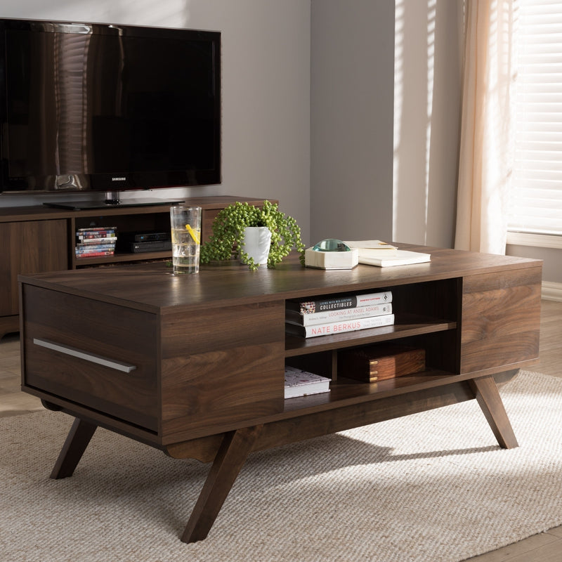 Mid-Century Brown 2-Drawer Coffee Table - RoomsandDecor.com