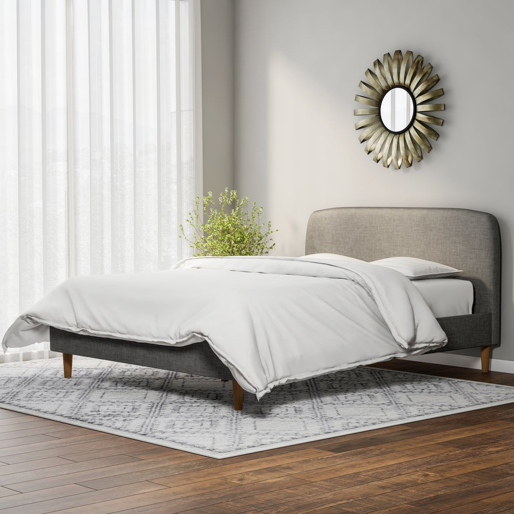 Mid-Century Fabric Upholstered Platform Queen Bed - RoomsandDecor.com
