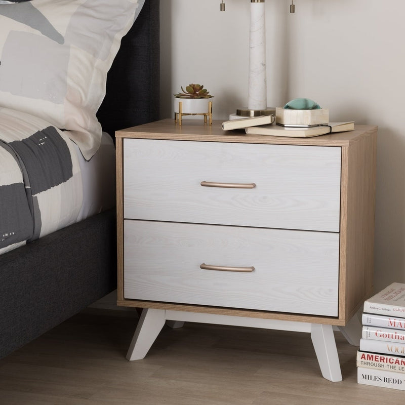 Mid-Century Natural Oak and Whitewashed 2-Drawer Nightstand - RoomsandDecor.com