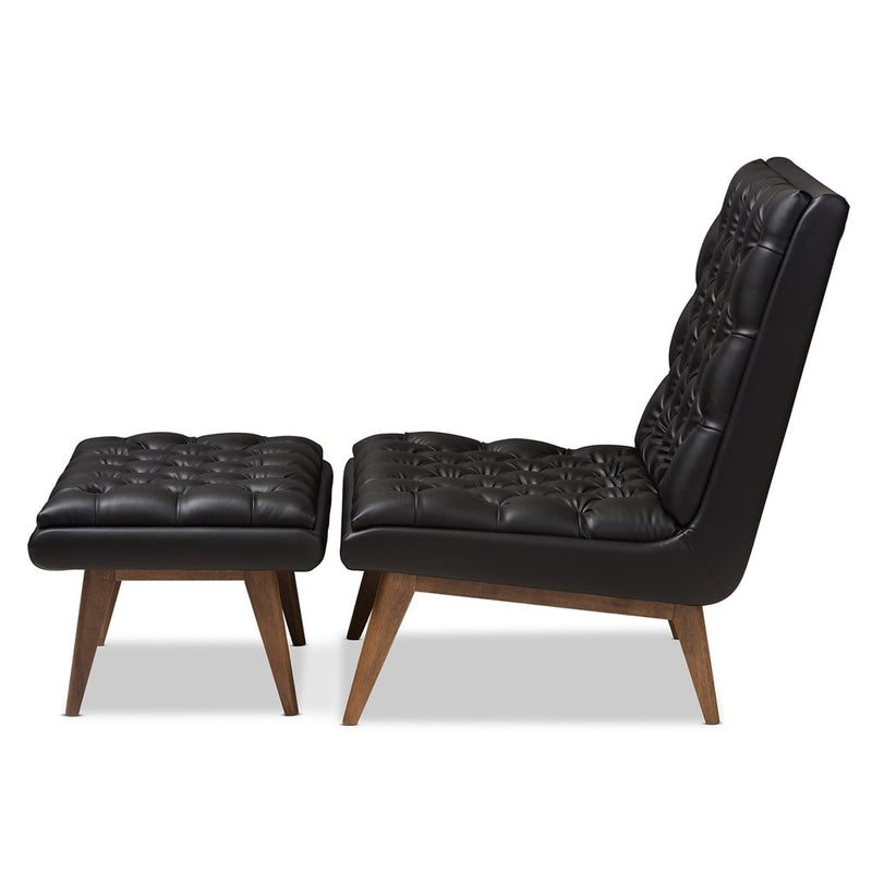Mid-Century Upholstered Chair And Ottoman Set - RoomsandDecor.com