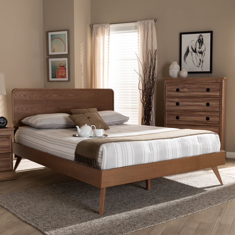 Mid-Century Walnut Wood Platform Bed - RoomsandDecor.com