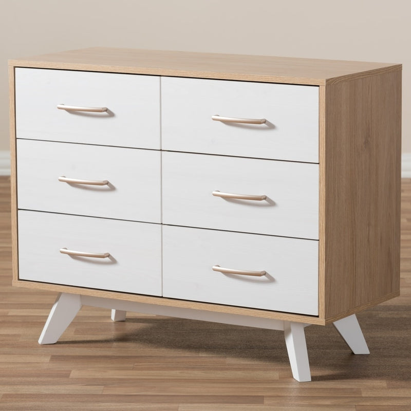 Mid-Century White and Oak 6-Drawer Dresser - RoomsandDecor.com