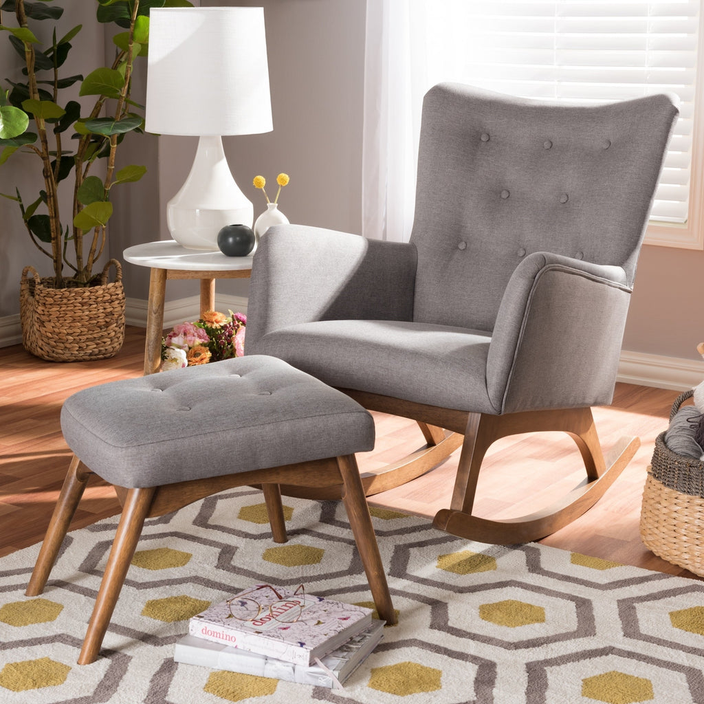 Milford Mid-century Fabric Rocking Chair and Stool Set - RoomsandDecor.com