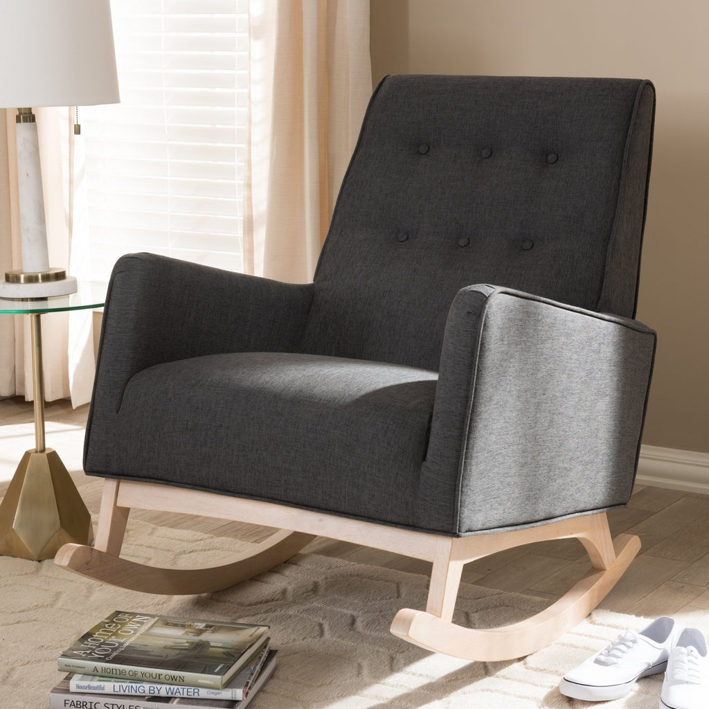 Mid-century Grey Fabric Rocking Chair - RoomsandDecor.com