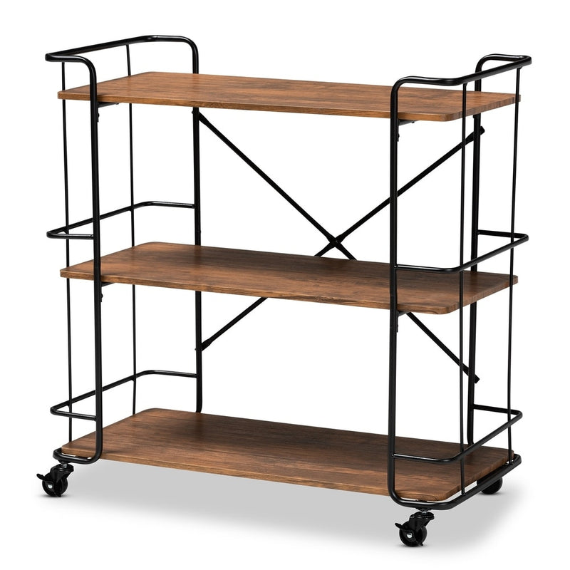 Neal Rustic Industrial Style Bar and Kitchen Serving Cart - RoomsandDecor.com