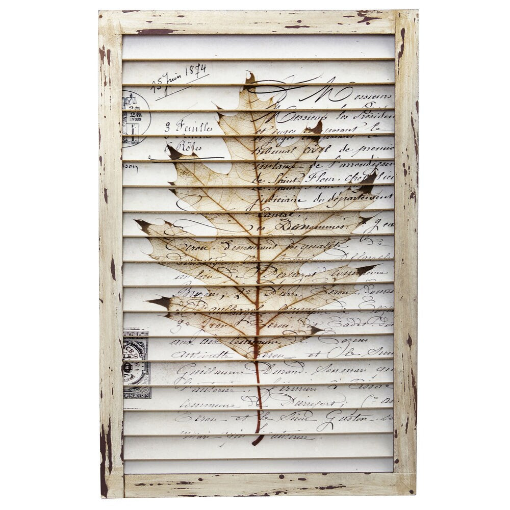 Nearly Natural Maple Leaf Window Shutter Wall Art