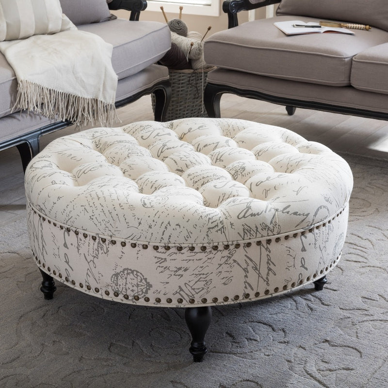 Palfrey Patterned Linen Modern Tufted Ottoman - RoomsandDecor.com