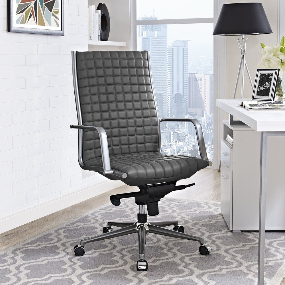 Pattern Black Vinyl and Steel 360-degree Swivel Highback Office Chair - Brown