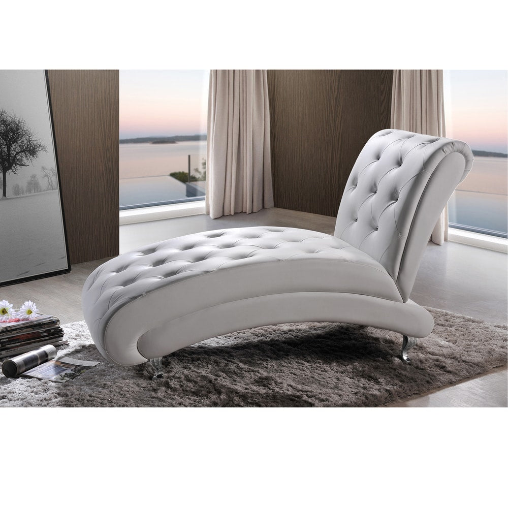 Contemporary White Faux Leather Chaise Lounge - RoomsandDecor.com