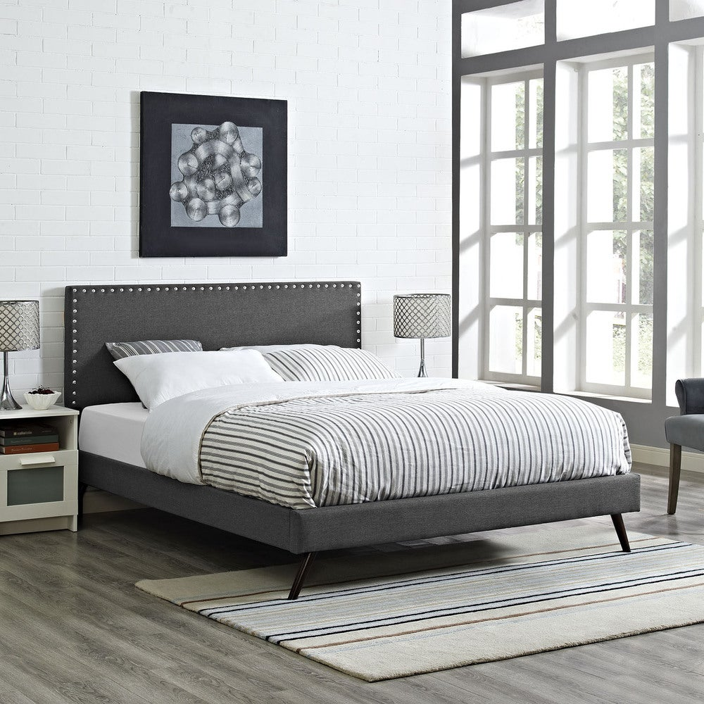 Phoebe Fabric Platform Bed with Round Splayed Legs in Grey - Twin