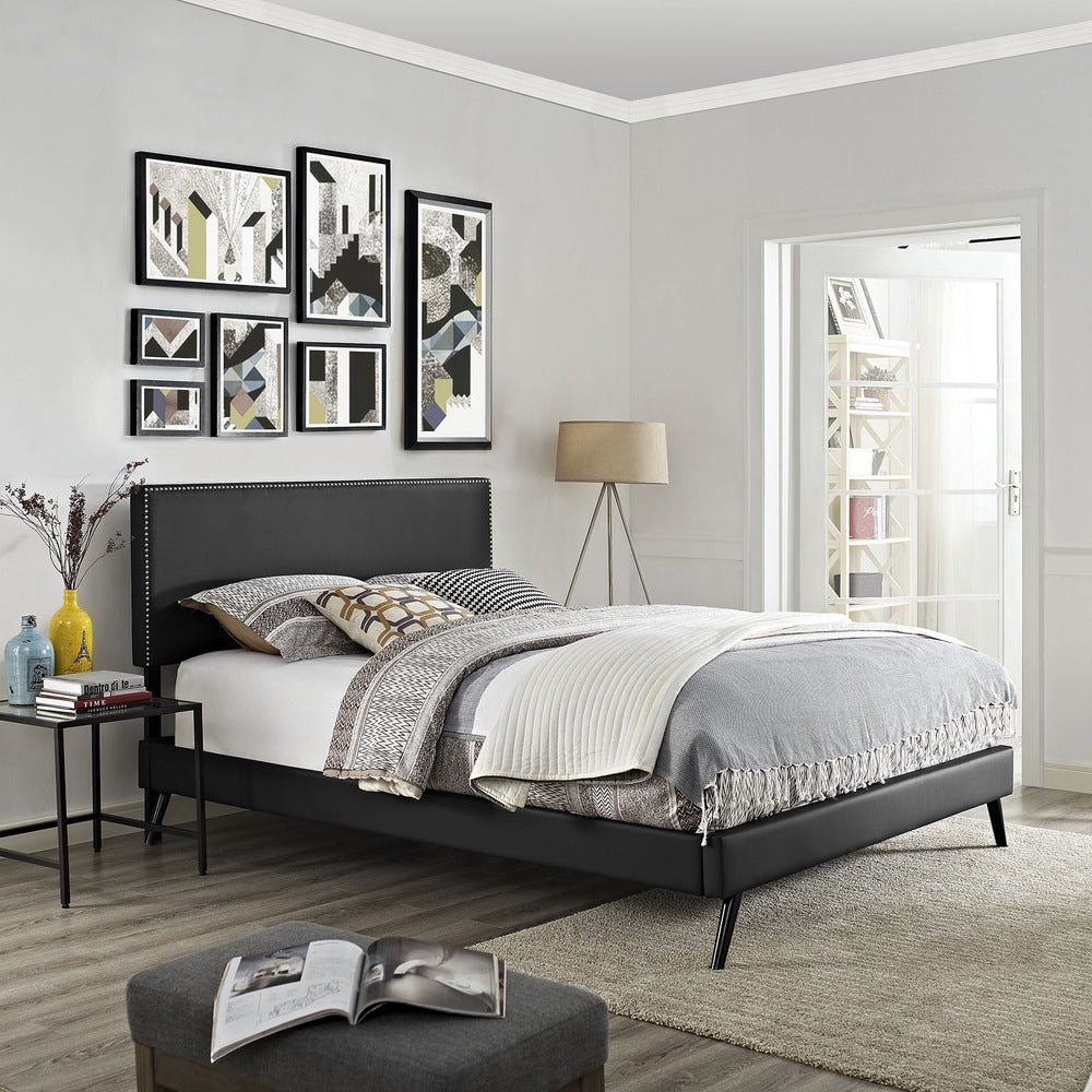 Phoebe Vinyl Platform Bed with Round Splayed Legs in Black - Queen