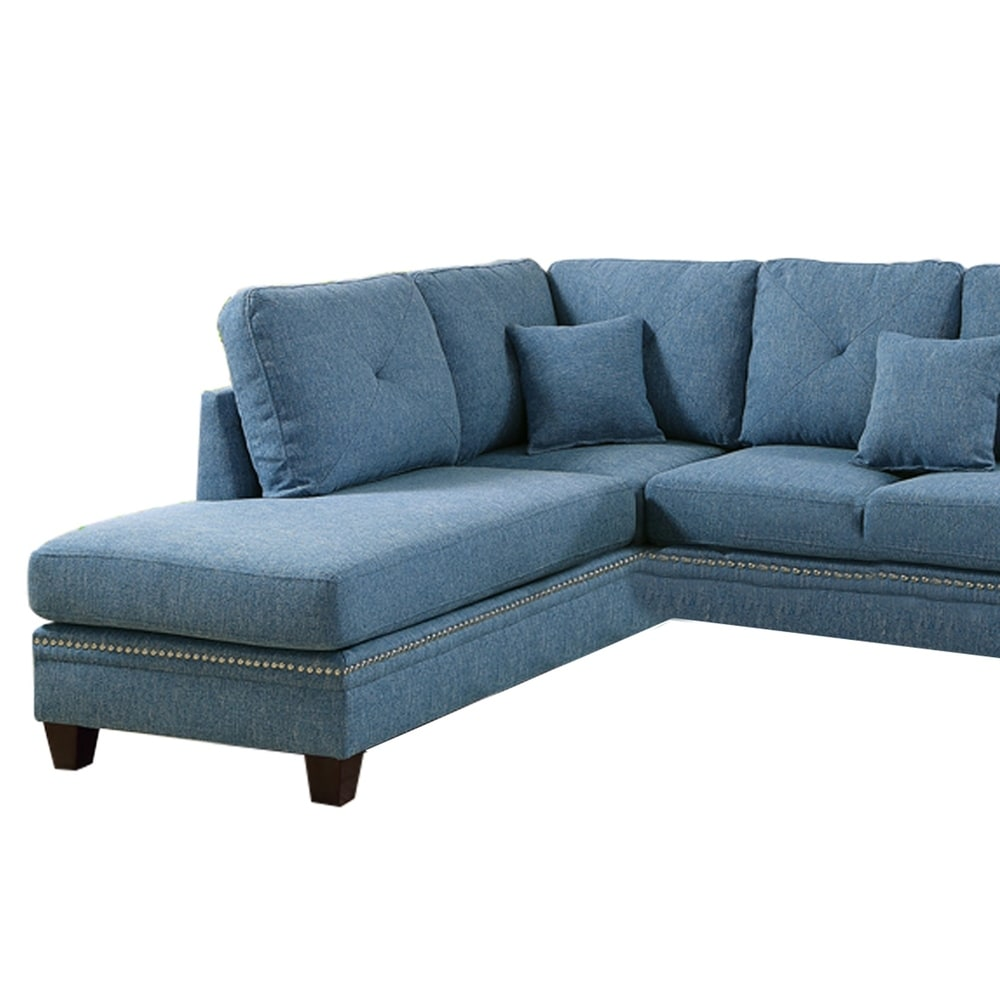 Polyfiber 2 Piece Sectional Set With Nail head Trims In Blue - RoomsandDecor.com