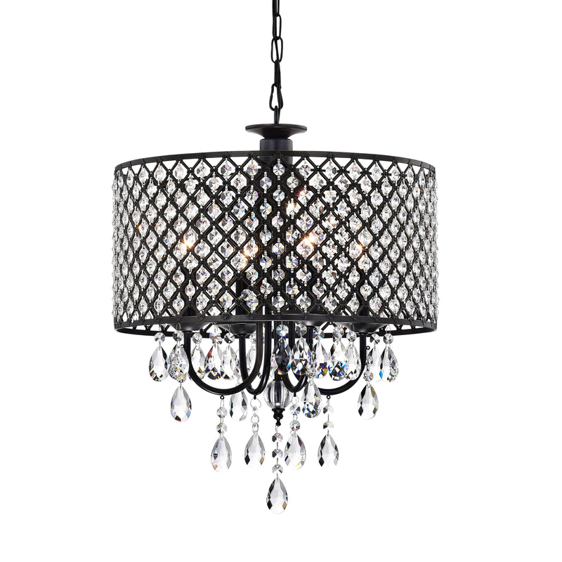 Antique Black 4-light Round Crystal Chandelier - RoomsandDecor.com