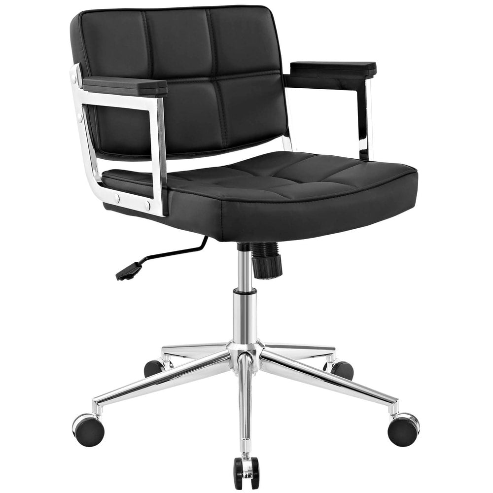 Portray Mid Back Upholstered Vinyl Office Chair - White
