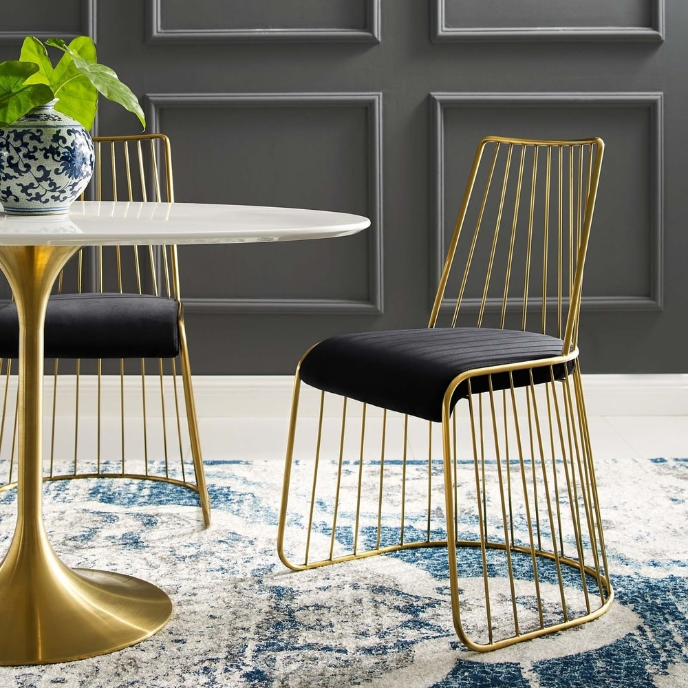 Rivulet Gold Stainless Steel Upholstered Velvet Dining Chair - gold navy