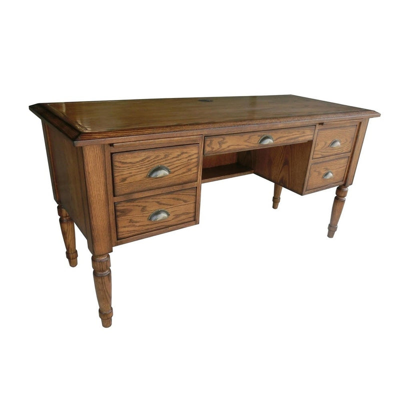 Ryn Burnished Walnut Home Office Desk - RoomsandDecor.com