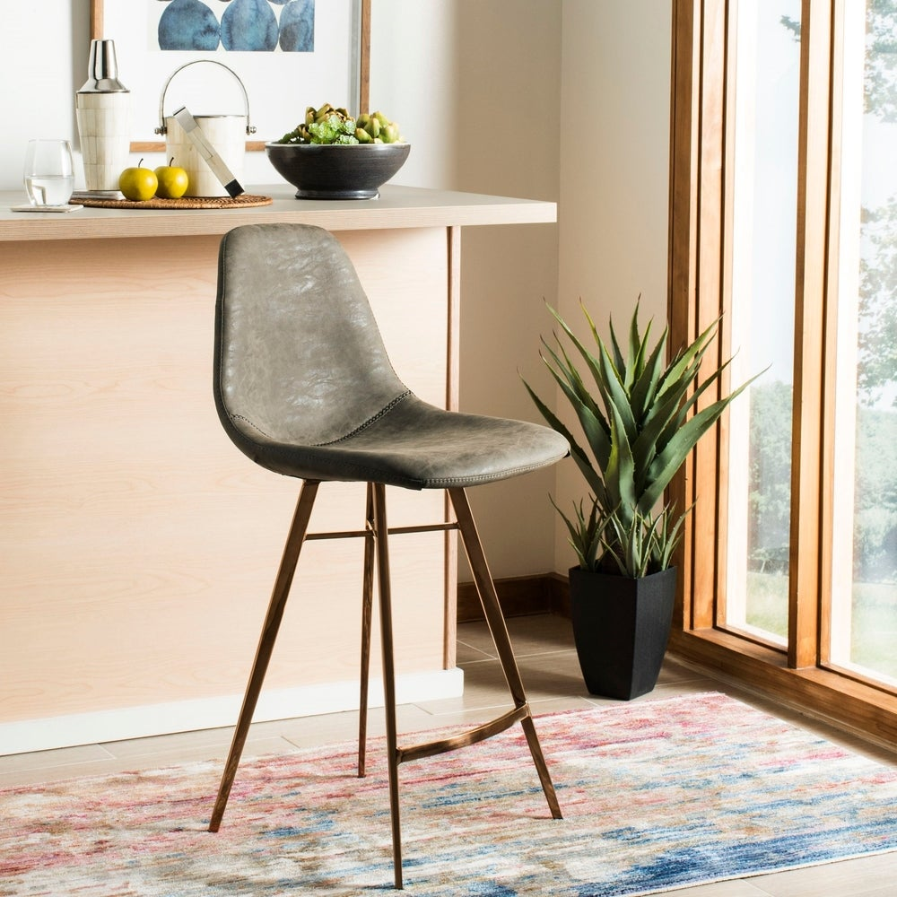 Safavieh 25- Inch Mathison Taupe/ Copper Counter Stool
