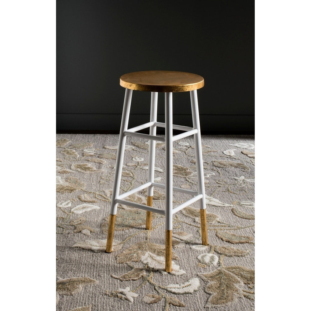 30-inch Emery White/ Gold Bar Stool