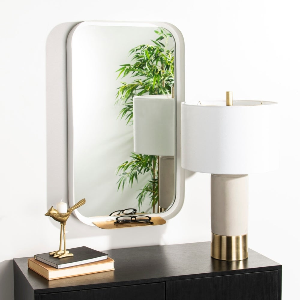 Safavieh Amabel White Rectangle Decorative Mirror - RoomsandDecor.com