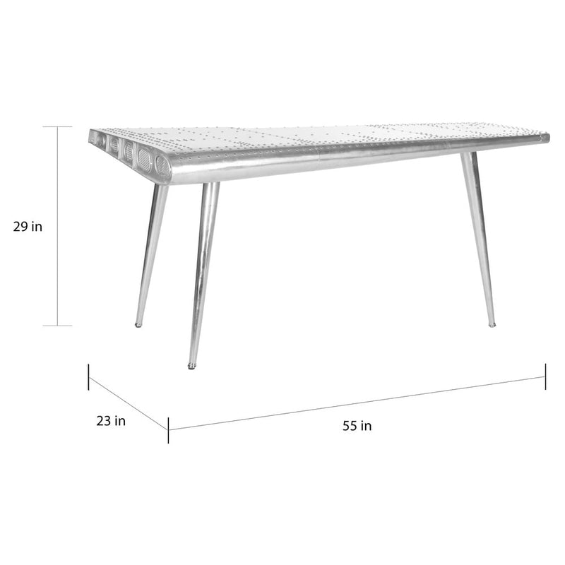 Aviator Silver Industrial Console Table Desk