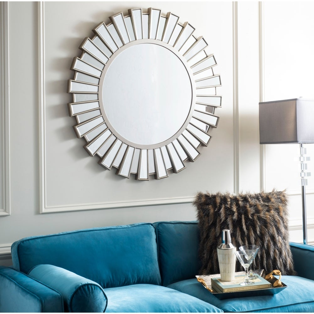 Safavieh Balin Silver Round Decorative Mirror - RoomsandDecor.com