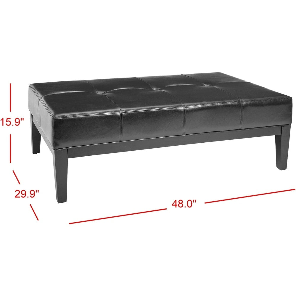 48-Inch-Wide Black Leather Cocktail Ottoman