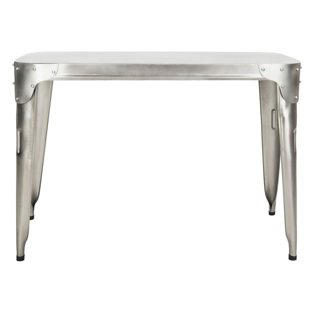 Antiqued Silver Iron Console Table