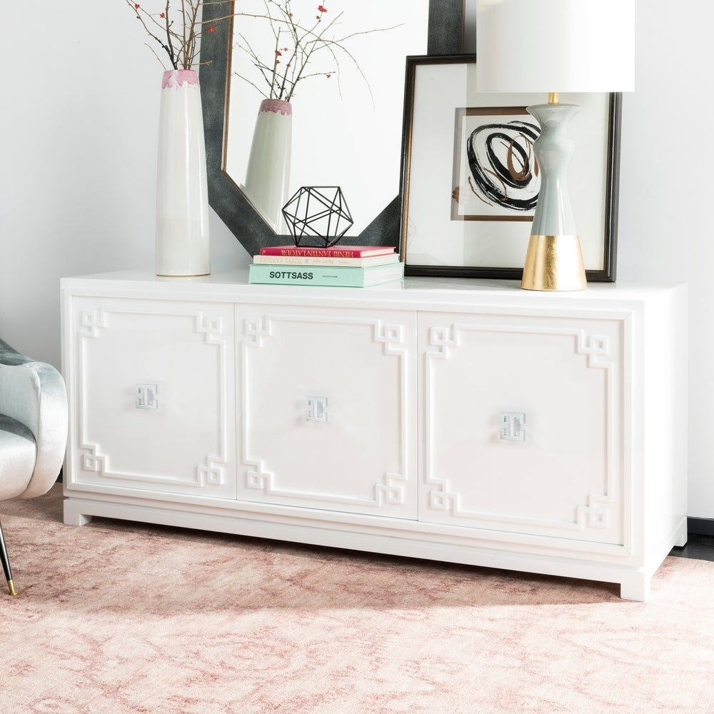 Safavieh Couture Arcelia 3-Door White Lacquer Wooden Tv Stand - RoomsandDecor.com